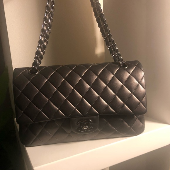 4734516bb07585 CHANEL Bags | Auth Dark Grey Classic Ml Double Flap | Poshmark